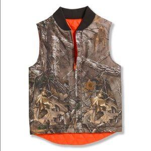 Carhartt real tree camo reversible vest boys 10-12